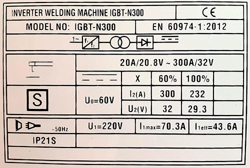 Especificaciones de un soldador de 300 A